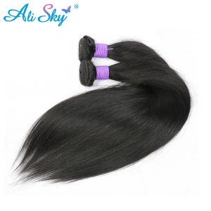 "Ali Sky Malaysian nonremy Hair Straight Weave Bundles 1pc 8""-26"" Hair Weaving UK Double Weft Can Be Dyed Hair Extension"
