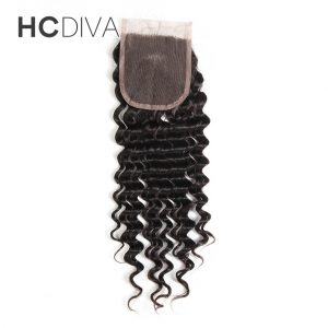 """HCDIVA Deep Wave Malaysian Lace Closure No Remy Human Hair Free Part 8 """"-18 """" Swiss Lace Size 4*4 Closure with Baby Hair"""