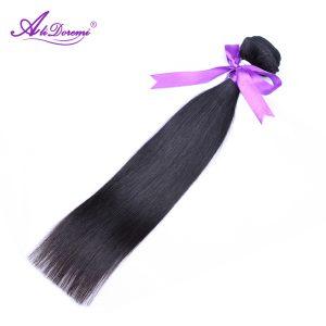 Alidoremi Malaysian Straight Hair Extensions Human Hair Weave Bundles 1 Piece 100g/pc Natural Black Non-Remy hair 8-28inch