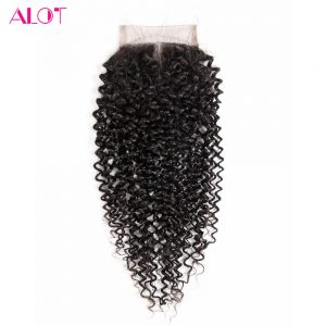 """AlotHair Middle Part Closures Malaysian Kinky Curly Human Hair Lace Closure 4"""" x 4"""" Closures 8inch to 18inch 100% Non-Remy Hair"""