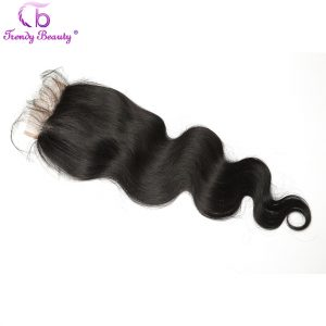 Trendy Beauty Indian lace closure 4*4 Free Part Swiss Lace Body Wave color 1B can be dyed 1 piece Non-Remy Hair free shipping