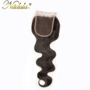 Nadula Hair Company Free Part Indian Hair Body Wave Closure Piece 10-20inch Non Remy Hair Weave Swiss Lace Closure Free Shipping