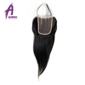 Alimice Indian Straight Lace Closure Three Part With Baby Hair 4''x 4'' Non-Remy Hair Closure Natural Color 100% Human Hair