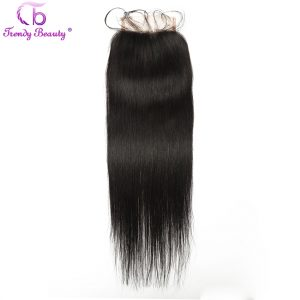 Trendy Beauty Hair Indian straight Lace Closure 100% human hair free part lace closure natural black color non- remy hair