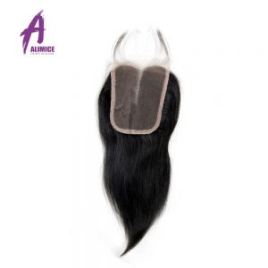 Alimice Hair Indian Straight Hair Lace Closure 4X4 Middle Part Closure With Baby Hair 100% Non-Remy Human Hair Swiss Lace