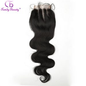 Trendy Beauty Hair Indian Body Wave Lace Closure Baby Hair Free Shipping Three Part Indian Non-Remy Hair Clolor 1b Can be dyed