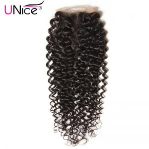"""UNICE HAIR Company Indian Curly Hair Lace Closure Middle Part Non Remy Human Hair Closure Swiss Lace 10""""-20"""" Natural Color"""