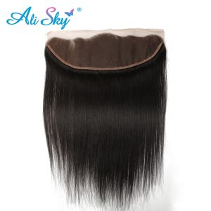 Indian Straight Ear To Ear Lace Frontal Closure 13*4 100% Human Hair 8-20 Inch Natural Color Shipping Free Ali Sky nonremy