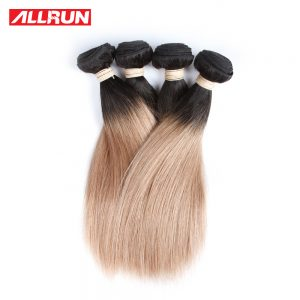 T1B/27 Ombre Indian Straight Hair Extensions Two Tone Human Hair Bundles Allrun 1PC Non Remy Hair Free Shipping No Shedding