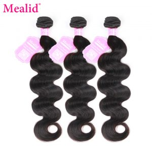 """[Mealid] Indian Hair Body Wave 1 Piece Only Human Hair Weave Bundles Non-remy Color 1B 8""""-28"""" Hair Extensions"""