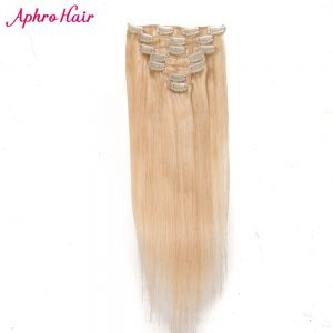 Aphro Hair Clip In Hair Extensions 7Pcs/set Clip Ins Full Head Indian Non-Remy Straight 100% Human Hair #613 Color