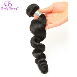Trendy Beauty Indian Loose Wave Human Hair Weave Bundle 1 Pcs Non-Remy Hair Natural Black Double Weft Free Shipping