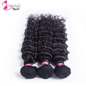 Indian Hair Deep Wave 1 Piece Ms Cat Hair Products Natural Black Non Remy No Shedding And Free Tangle Human Hair Bundles