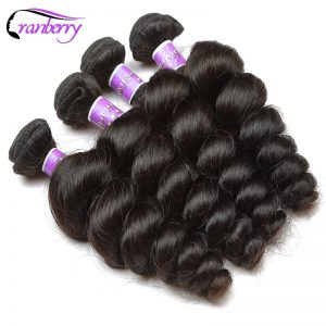 Cranberry Hair Indian Hair Loose Wave Human Hair Weave Bundles Extensions 10-26 inches Non Remy Hair Can Mix 3 or 4 Bundles