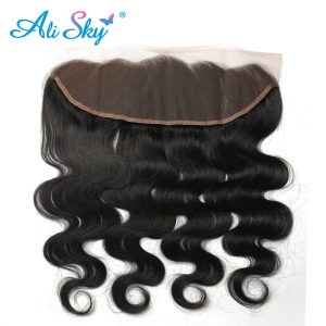"Ali Sky Body Wave Indian Nonremy Hair 13*4 Lace Frontal 1pc Ear To Ear 8""-20"" Free Part Human Hair Extensions Natural Color 1B#"