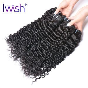 Iwish Hair Indian Curly Hair Weave Human Hair Bundles 1 Piece Non Remy Hair Extensions Natural  10-28 inch Can buy 3or 4 Bundles