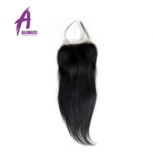 Alimice Indian Straight Lace Closure Free Part 4X4 Natural Color Non-Remy Hair Closure 100% Human Hair Medium Brown Hand Tied