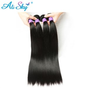 Ali Sky Hair straight hair Indian 100% human hair weaving Natural Black 8-26inch no tangle no sheding Unprocessed weft non remy