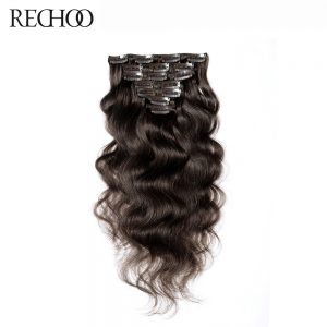 Rechoo Body Wave Indian Non-remy #2 Dark Brown Color 100% Human Hair Clip In Extensions 100 Gram Full Head Set Free Shipping