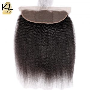 KL Hair Free Part Kinky Straight 13x4 Ear To Ear Lace Frontal Closure With Baby Hair Brazilian Human Remy Hair Bleached Knots