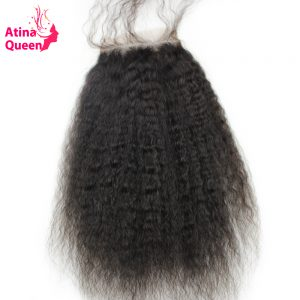 Atina Queen Kinky Straight Closures 4x4 Lace Closure with Baby Hair Italian Coarse Afro Remy Human Hair Products Free Shipping