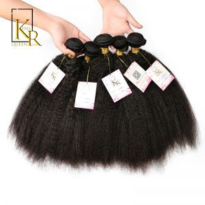 Kinky Straight Hair Bundles Remy Brazilian Human Hair Weave Bundles 1PC Extension Natural Black No Shedding By King Rosa Queen