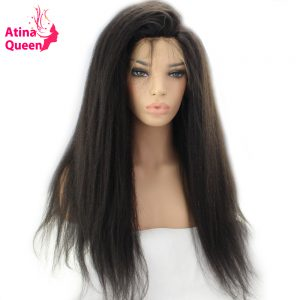 Atina Queen Kinky Straight Glueless Full Lace Wigs Human Hair with Baby Hair for Black Women Afro Brazilian Italian Coarse remy