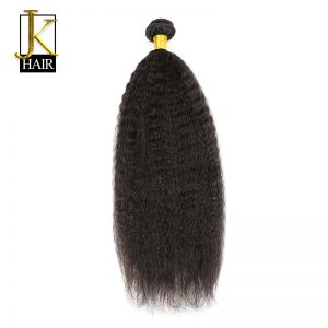 """Kinky Straight Hair 100% Remy Brazilian Human Hair Weave Bundles 1PC Extension Natural Black Can Be Dyed 10-28"""" Elegant Queen"""