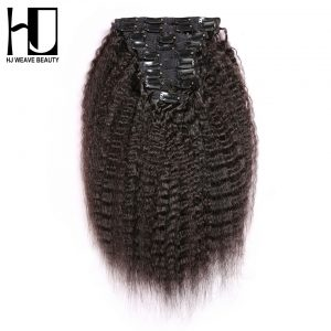[HJ WEAVE BEAUTY] Kinky Straight Clip In Hair Extensions Human Hair Remy Hair Natural Color 140G/set 14-22 Inch 10pcs/set