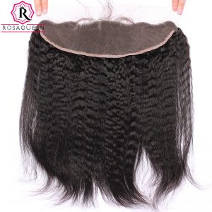 "Rosa Queen Kinky Straight Lace Frontal Closure 13""x4"" 100% Human Hair Brazilian Remy Hair"