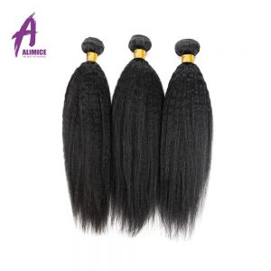 Kinky Straight Brazilian Hair Alimice Hair Non-Remy Human Hair Weave Bundles Natural Color 10-26inch Coarse Yaki Hair Weaving