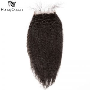 4x4 Lace Closure With Baby Hair Free Part Kinky Straight Brazilian Remy Hair Honey Queen