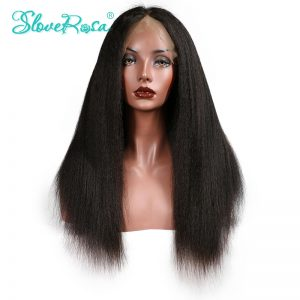 Slove Rosa Kinky Straight Wig Lace Front Human Hair Wigs Brazilian Remy Hair For Black Women Natural Hairline With Baby Hair