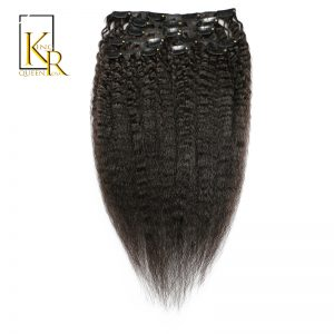 King Rosa Queen Kinky Straight Clip in Human Hair Extensions Natural Color 100% Remy Brazilian Hair Clips In Hair 120G