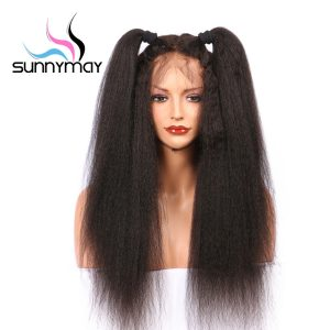 Sunnymay Peruvian Remy Pre Plucked African American Kinky Straight Lace Front Human Hair Wigs With Baby Hair
