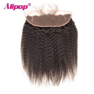 ALIPOP Pre Plucked Peruvian Kinky Straight Lace Frontal Closure With Baby Hair Non Remy Human Hair Natural Hairline