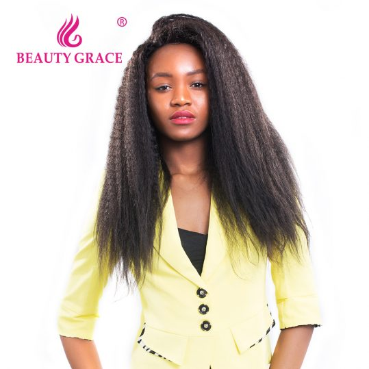 Beauty Grace Malaysian Kinky Straight Hair 1 Bundle Natural Color 100% Remy Human Hair Weaving 10-26 Inches