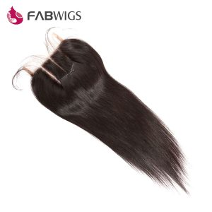 Fabwigs 5x5 Three Part Lace Closure Bleached Knots Brazilian Silky Straight Human Hair Closure Remy Hair Freeshipping