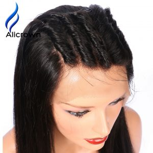 Alicrown Glueless Full Lace Human Hair Wigs For Black Women Bleached Knots Pre-Plucked Remy Brazilian Hair Wigs With Bay Hair