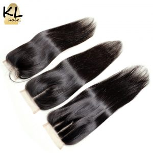 KL Hair 4x4 Lace Closure Human Hair Natural Color Silky Straight Brazilian Remy Hair Closure Bleached Knots With Baby Hair