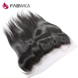 Fabwigs Brazilian Hair 13x4 Silky Straight Lace Frontal Closure Bleached Knots With Baby Hair 100% Human Hair Remy Hair