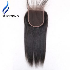 "ALICROWN Silky Straight 5*5 Lace Closure Bleached Knots With Baby Hair Brazilian Remy Hair 8""~20"" Closures Natural Color"