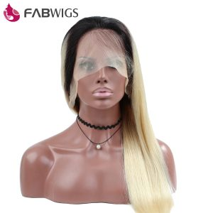 Fabwigs Full Lace Wig Silky Straight 130% Density Ombre Blond 1B 613 Color Human Hair Wig with Baby Hair Remy Hair Free Shipping