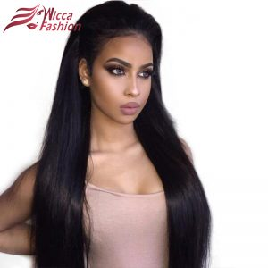 Dream Beauty 180 Density remy Brazilian silky Straight Pre Plucked 360 Lace Frontal Wig With Baby Hair Bleached Knots