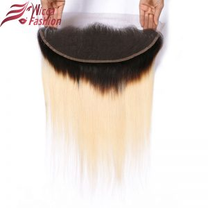 Dream Beauty Brazilian Non Remy silky Straight Hair omber 1b/613 13*4 Lace Frontal Closure dark Roots Bleached Knots