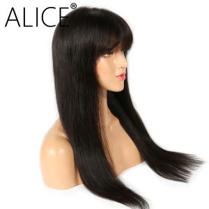 ALICE Silky Straight 360 Lace Frontal Wig Brazilian Remy Human Hair Wigs With Bangs Bleached Knots Natural Color