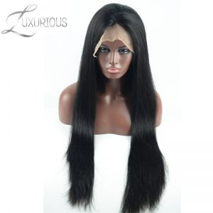 Luxurious 150% Density Silky Straight Peruvian Remy Hair Lace Front Human Hair Wigs For Black Women Natural color
