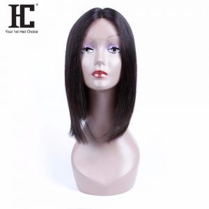 HC Hair Lace Front Human Hair Wigs Straight BoB Wigs for Black Women Middle Part Swiss Lace Front Wig Peruvian Hair