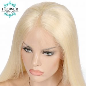 FlowerSeason Malaysian Blonde #613 Full Lace Human Hair Wigs Silky Straight Remy Hair Middle Part With Bleached Knots Hand Tied
