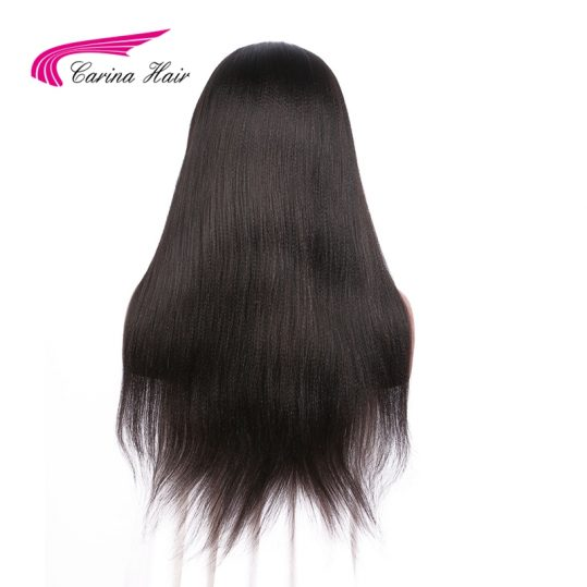 Carina Yaki Straight Full Lace Wigs with Baby Hair Brazilian Glueless Hair Wig Pre-plucked Hairline Non-Remy Hair Natural Color